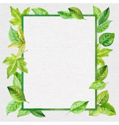Square frame made of spring leaves in watercolor vector