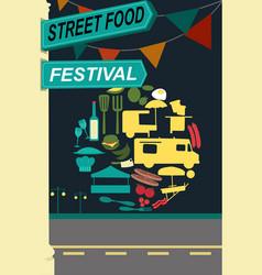 Street food festival pamphlet vector