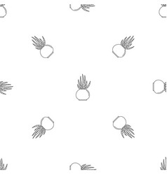 striped cactus pot pattern seamless vector image