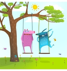 Summer tree friends animals monsters cute and vector