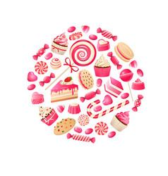 sweet candy chocolate bars lollipop bonbon vector image