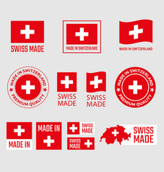 swiss made icon set made in switzerland product vector image