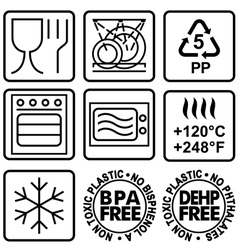 Symbols for marking plastic dishes vector image