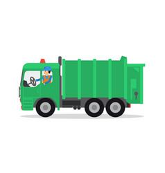 The worker on the garbage truck vector