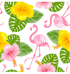 tropical seamless pattern with flamingo vector image