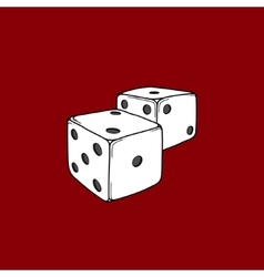 Two colored cartoon-style dice cubes vector image