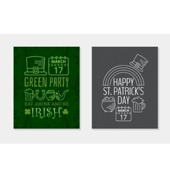 Two Happy St Patricks day grunge vintage posters vector image