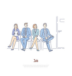 unemployed men and women sitting in waiting room vector image