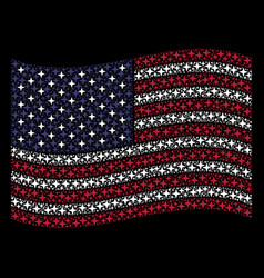 Waving american flag stylization of space star vector