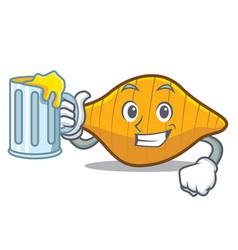 With juice conchiglie pasta mascot cartoon vector