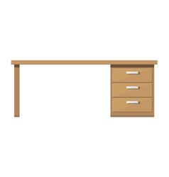wooden desk with drawer brown table with lockers vector image