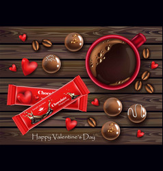 red chocolates and coffee cup realistic vector image