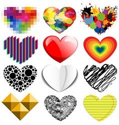 Set of twelve hearts vector image
