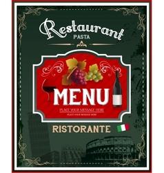 Vintage italian restaurant menu and poster design vector image vector image