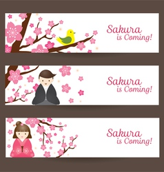 Cherry Blossoms and Japanese Couple Banner vector image