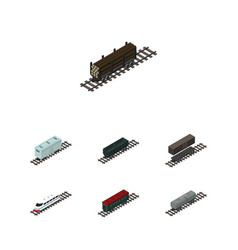 Isometric wagon set of carbon railway container vector