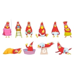 set of funny baby parrots vector image
