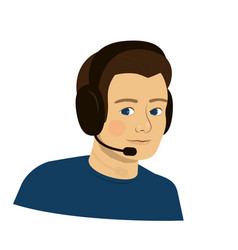 Support boy with headphones - call center vector