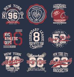 vintage labels set athletic sport typography for vector image
