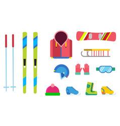 winter sport icons set ski snowboarding vector image