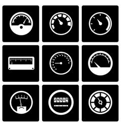 Black meter icon set vector