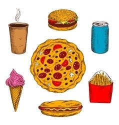Fast food lunch menu colored sketch icon vector image vector image