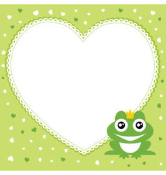 frog prince with heart shape frame vector image vector image