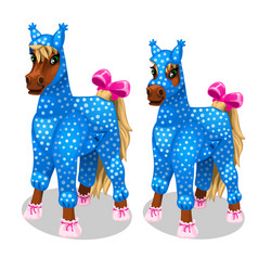 funny horse in the blue jumpsuit vetor isolated vector image vector image