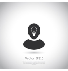 Human head with lamp inside Ide icon or logo vector image