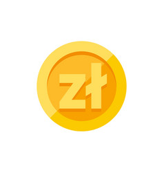 polish zloty currency symbol on gold coin flat vector image vector image