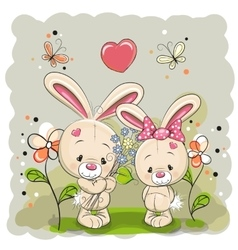 Rabbit boy and girl vector image vector image