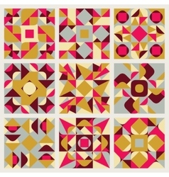 Set of Nine Seamless Blue Pink Yellow White vector image