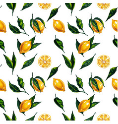 watercolor seamless pattern with lemon and leaves vector image
