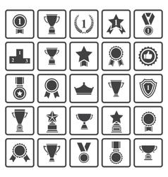 Black avards icons set vector image