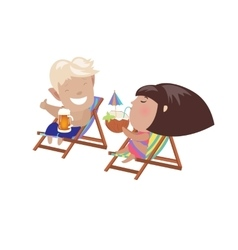 Couple drinking beverages sitting in the deck vector image vector image