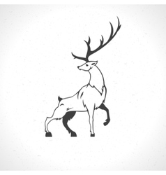 Deer silhouette isolated on white background vector image