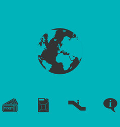 globe earth icon flat vector image vector image