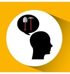 head silhouette black icon shovel and pick vector image