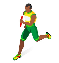 Running Relay 2016 Sports 3D Isometric vector image vector image
