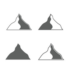 set of monochrome forms of mountains vector image