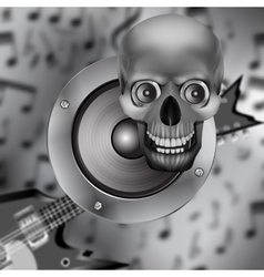 speaker skull and electric guitar vector image