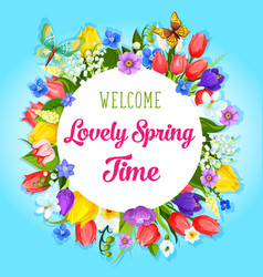 spring time flowers greeting poster vector image