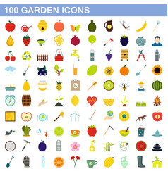 100 garden icons set flat style vector image