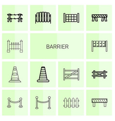 14 barrier icons vector image