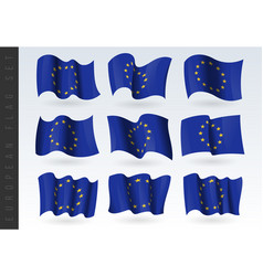 3d waving flag european union isolated vector image