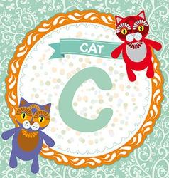 Abc animals c is cat children english alphabet vector