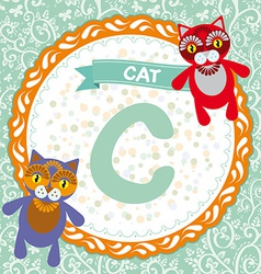 ABC animals C is cat Childrens english alphabet vector image