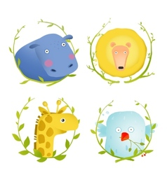African Animals Fun Cartoon Portraits with Wreath vector image