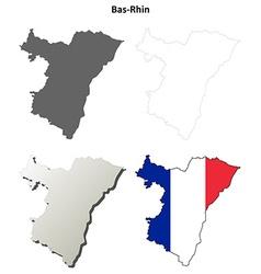 Bas-rhin alsace outline map set vector