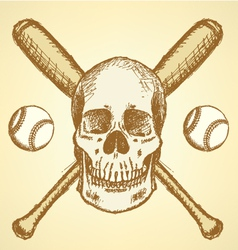 Baseball Bat Ball Scull vector